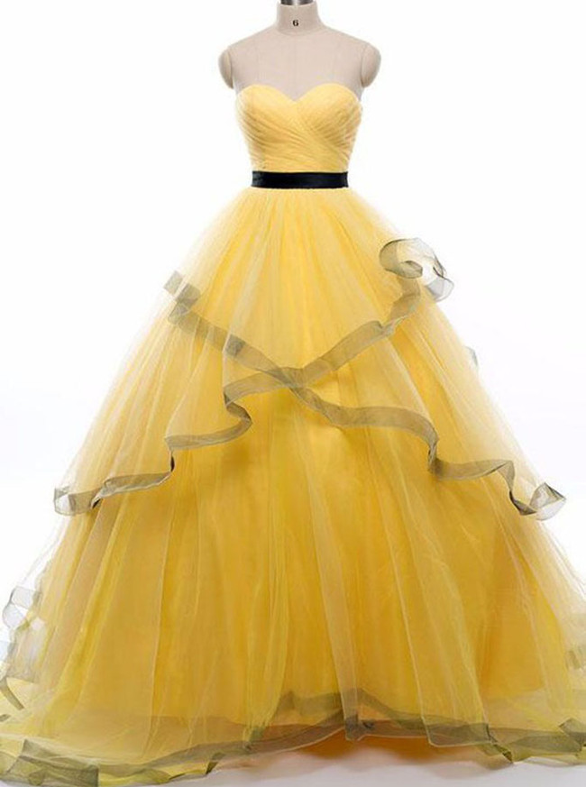 Yellow Prom Gown,Tulle Sweet 16 Dress,Sweetheart Prom Gown,12000
