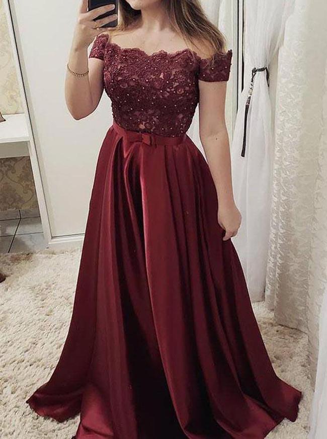 Burgundy Prom Dress,Off the Shoulder Prom Dress for Teens,12001