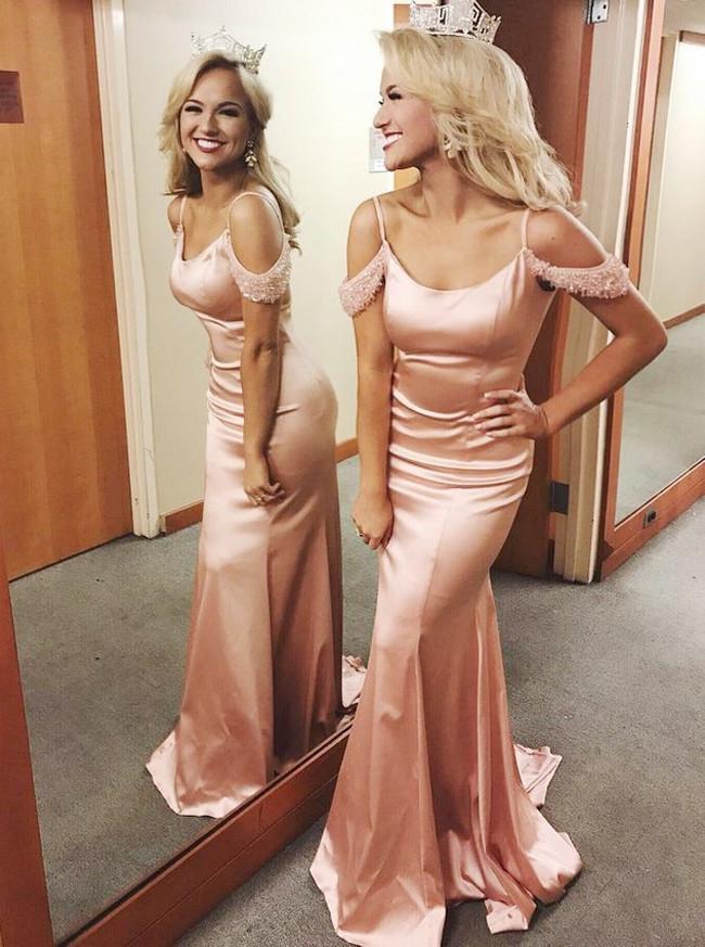 Silk Like Satin Mermaid Prom Dress,Off the Shoulder Evening Dress,12003
