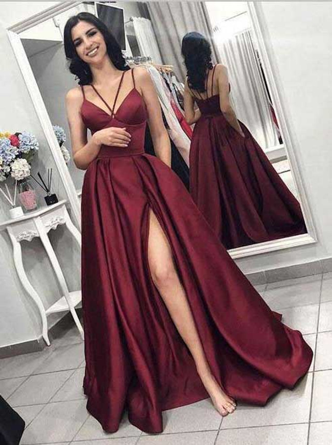 Burgundy Satin Prom Dresses,Prom Dress with Pockets,12005