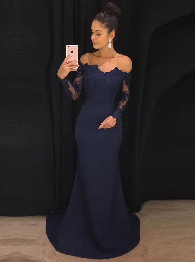 Dark Navy Prom Dress with Sleeves,Off the Shoulder Evening Dress,12006
