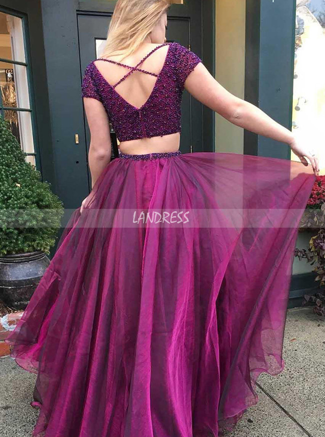 Two Piece Prom Dress,Beaded Prom Dress for Teens,12008