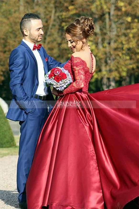 Prom Dress with Sleeves,Formal Satin Long Evening Dress,12010