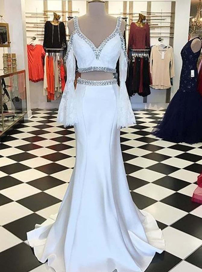 Two Piece Prom Dresses,Mermaid Evening Dress,Evening Dress with Sleeves,12011