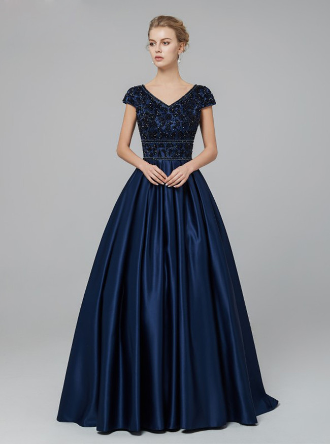 Modest Prom Dress with Cap Sleeves,Satin A-line Prom Dress,12012