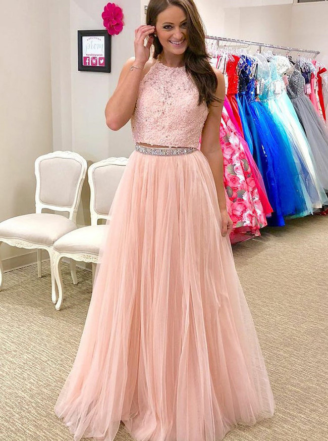 Peach Prom Dress for Teens,Two Piece Prom Dress,12014