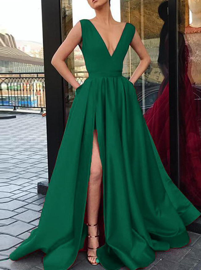A-line Satin Prom Dress with Pockets,Prom Dress with Slit,12015