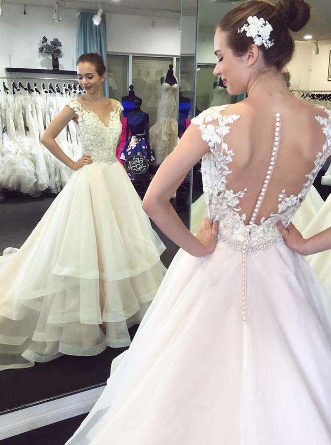 Ivory Princess Wedding Gowns,Ruffled Bridal Dress,12016