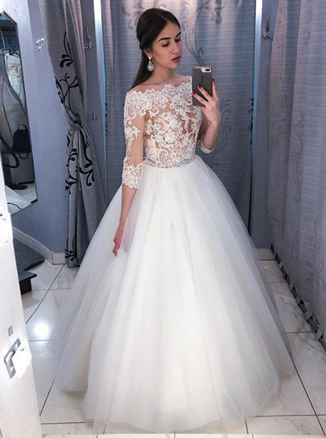 Ball Gown Wedding Dress with Sleeves,Off the Shoulder Wedding Gown,12017