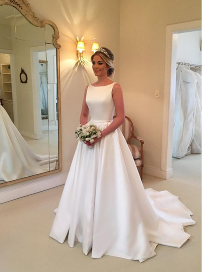 Modest A-line Wedding Dresses,Satin Bridal Dress,12018
