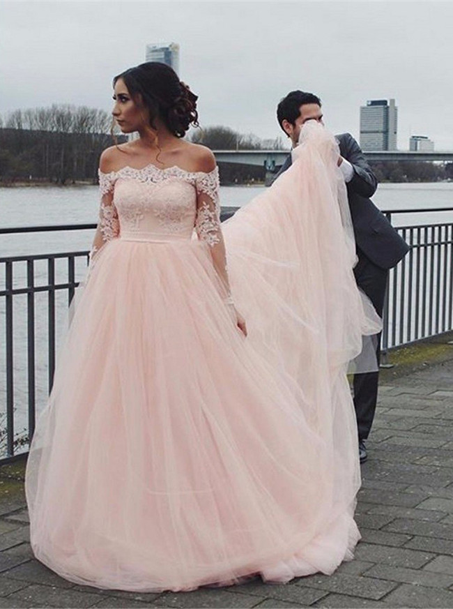 Champagne Ball gown Dress,Long Sleeves Wedding Gown,Off the Shoulder Bridal Gown,12019