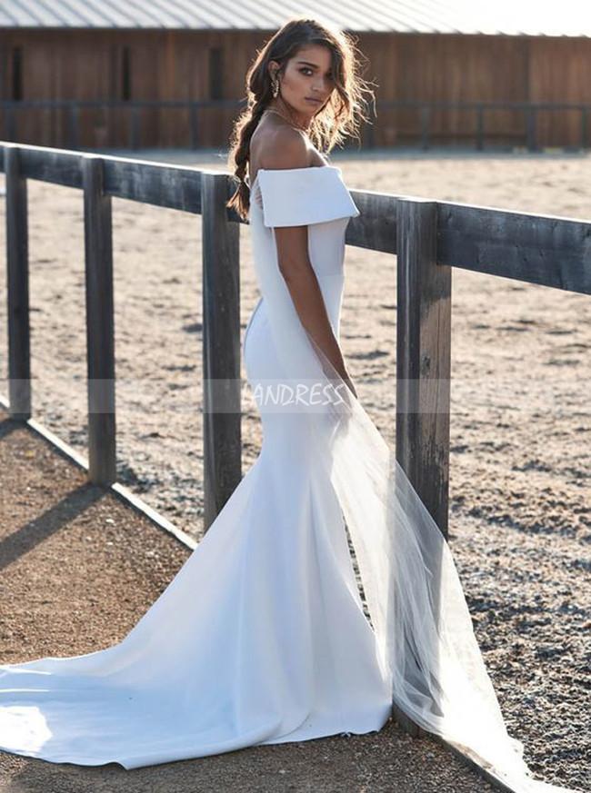 Satin Off the Shoulder Wedding Dresses,Modest Wedding Dress,12020