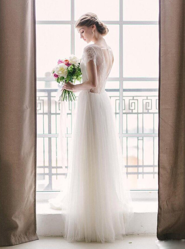 Boho Wedding Dress,Open Back Wedding Dress,Floor Length Tulle Wedding Dress,12021