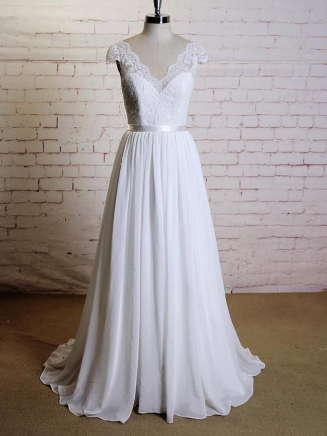 Chiffon Wedding Dress with Cap Sleeves,Simple Beach Wedding Dress,12022