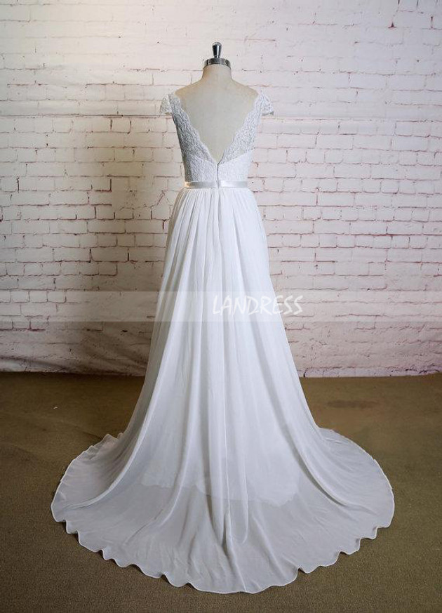 Chiffon Wedding Dress with Cap Sleeves,Simple Beach Wedding Dress,12022