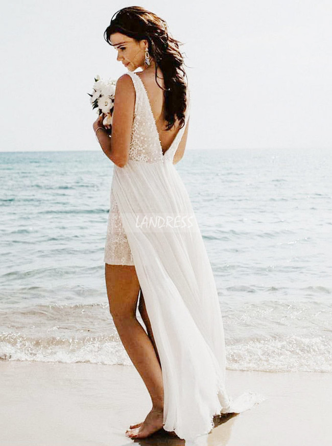 V-neck Chiffon Wedding Dress,Beach Wedding Dress,12023