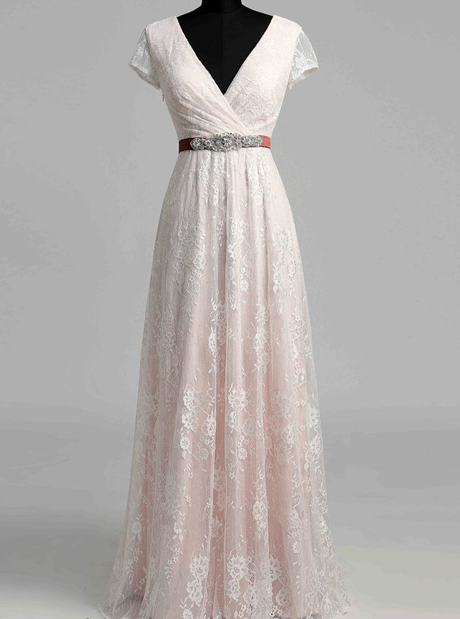 Vintage Lace Wedding Dress with Short Sleeves,V-neck Wedding Dress,12024