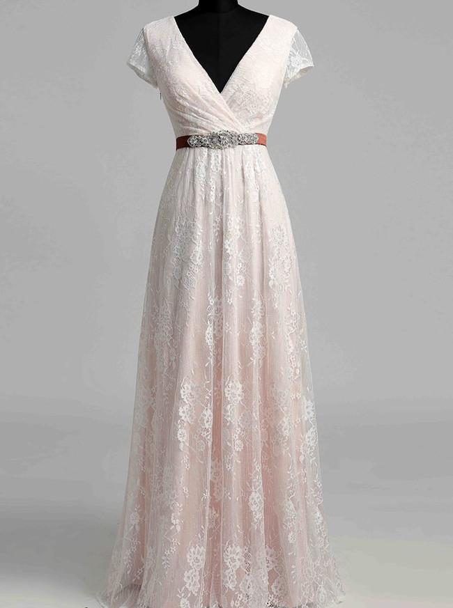 Vintage Lace Wedding Dress With Short Sleeves V Neck Wedding Dress 12024 Landress Co Uk