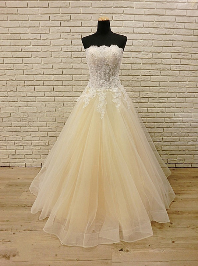 Champagne Wedding Dress,Strapless Floor Length Wedding Dress,12027