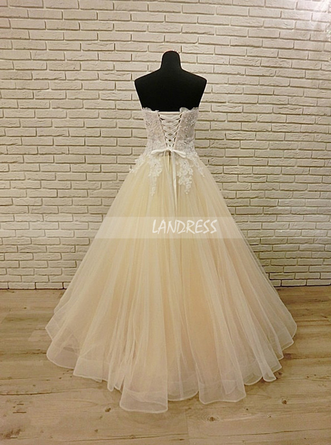 Champagne Wedding Dress,Strapless Floor Length Wedding Dress,12027