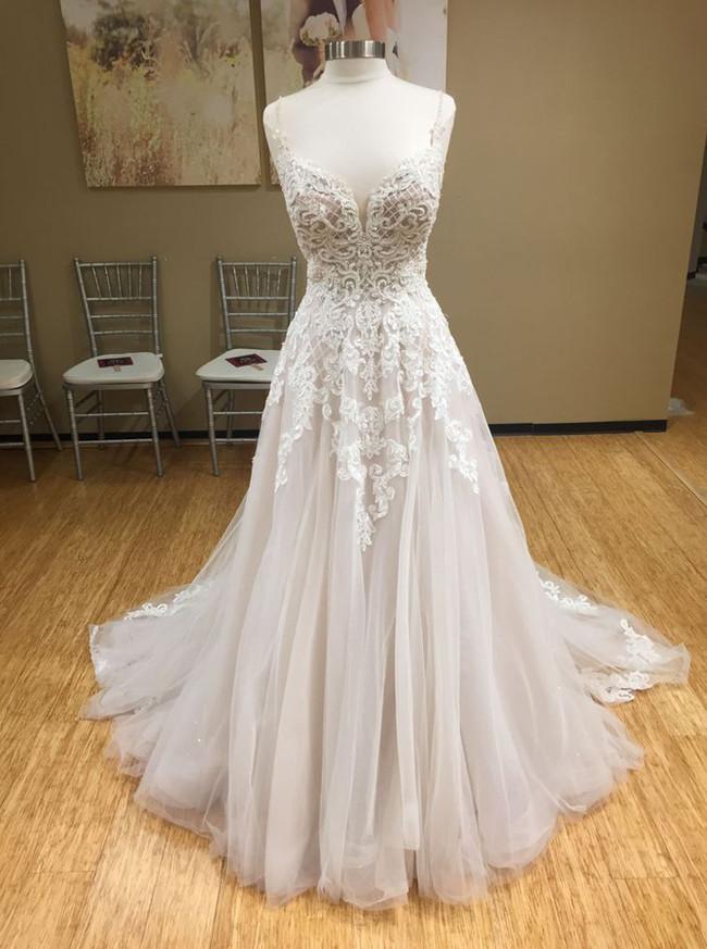 A-line Wedding Dresses,Open Back Bridal Dress,Tulle Princess Bridal Dress,12028