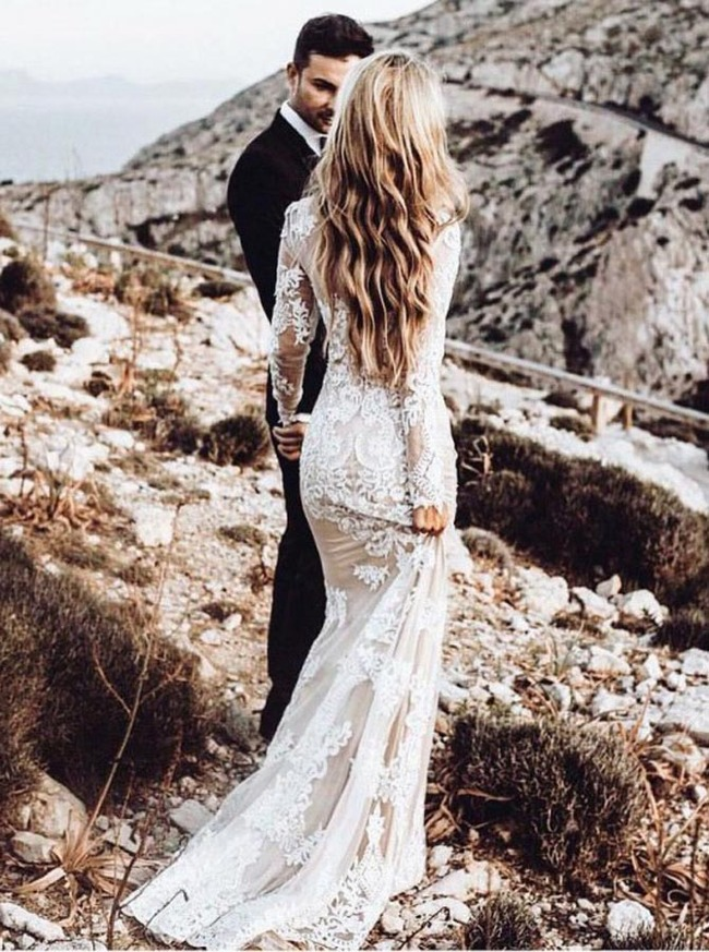 Romantic Wedding Dress,Lace Wedding Dress with Sleeves,12031