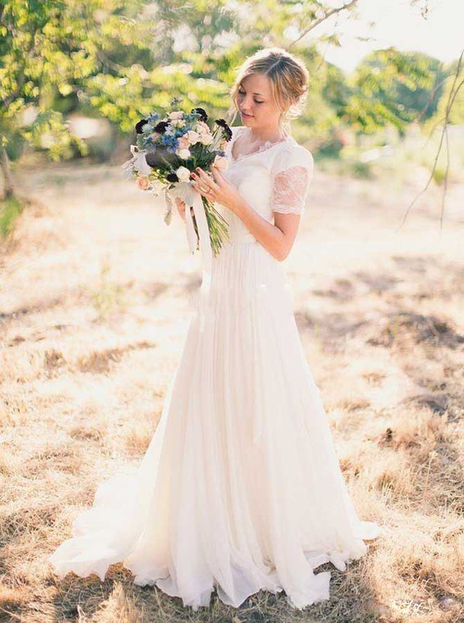 Boho Wedding Dress,Simple Bridal Dress with Short Sleeves,12033