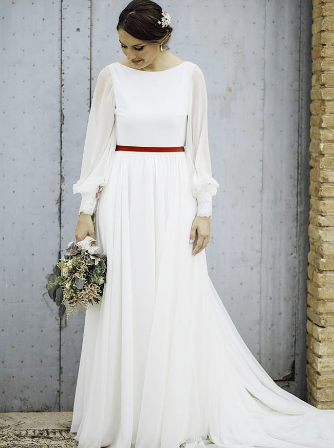 Chiffon Romantic Wedding Dresses,Long Sleeves Destination Wedding Dress,12034