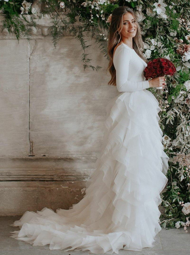 Ruffled Wedding Dresses,Spandex Bridal Dress with Sleeves,12035