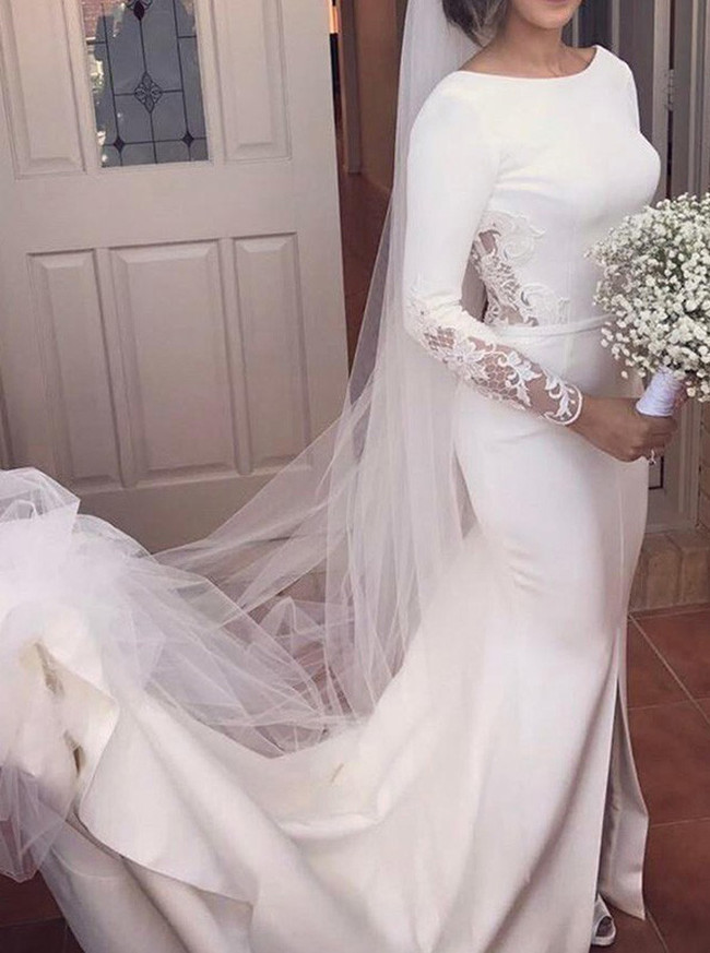 High Quality Wedding Dress with Sleeves,Low Back Bridal Dress,12036