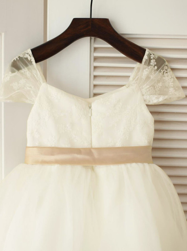 Cute Flower Girl Dress,Ivory Flower Girl Dress,12038
