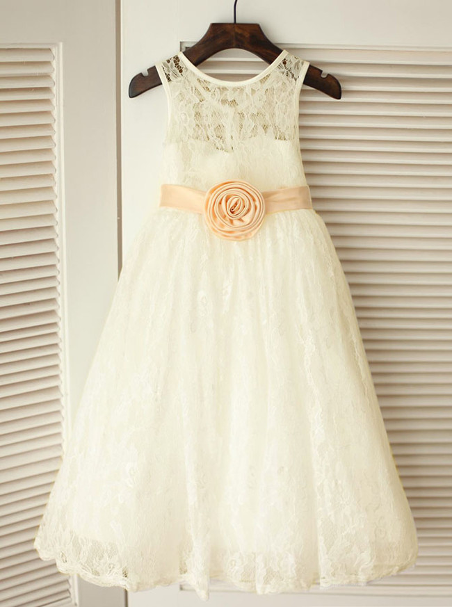 Lace Flower Girl Dress with Flower,Ankle Length Flower Girl Dress,12040
