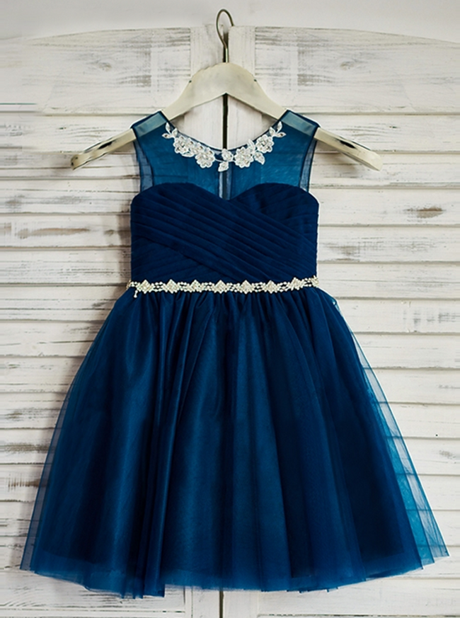 Dark Navy Flower Girl Dresses,Knee Length Girls Party Dress,12041