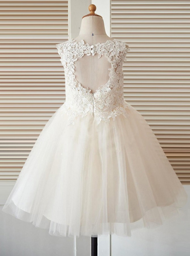 Light Champagne Flower Girl Dresses,Stunning Flower Girl Dress,12042