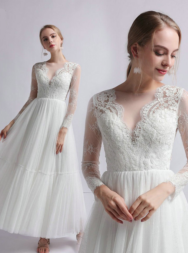 Boho Tea Length Wedding Dresses,Tulle Wedding Dress with Sleeves,12043