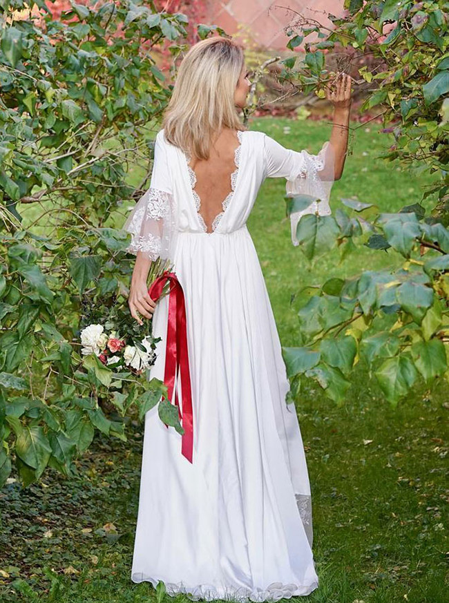 Boho Wedding Dresses with Sleeves,Simple Wedding Dress,12044