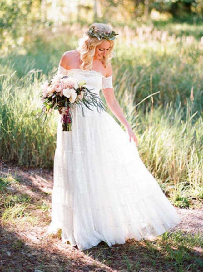 Off the Shoulder Lace Wedding Dress,Outdoor Boho Wedding Dress,12045