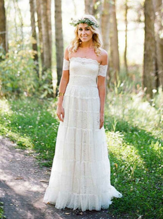 Off the Shoulder Lace Wedding Dress,Outdoor Boho Wedding Dress,12045