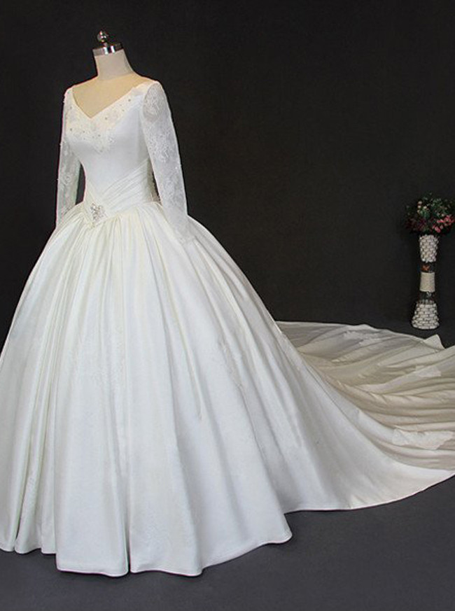 Vintage Wedding Ball Gown,Illusion Sleeves Satin Wedding Gown,12046