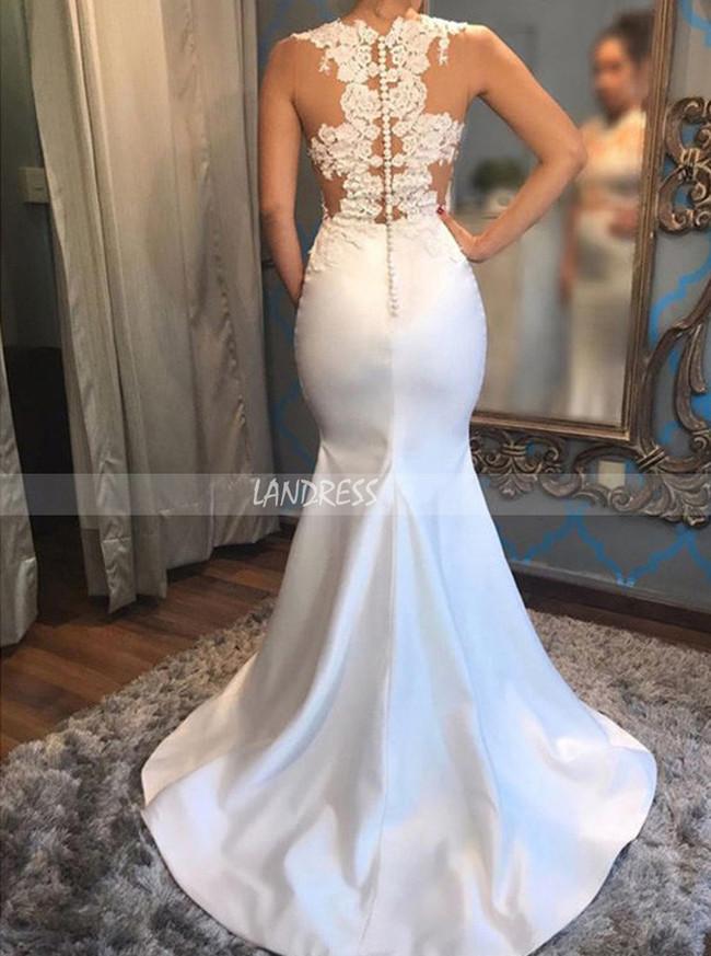 See Through Wedding Dresses,Satin Mermaid Wedding Dress,12047