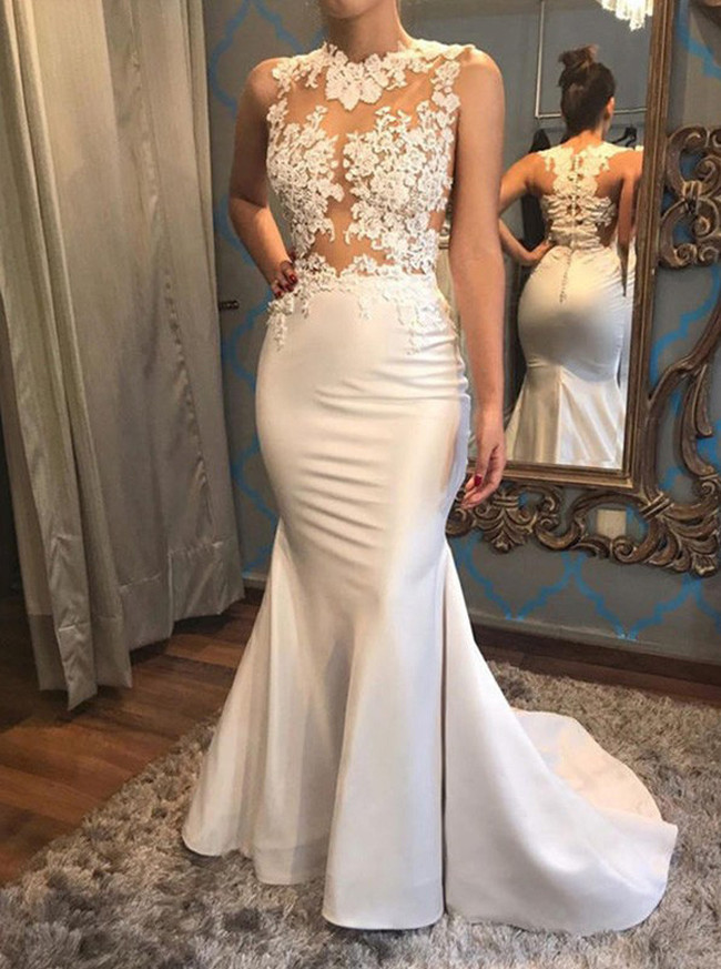 See Through Wedding Dresses,Satin Mermaid Wedding Dress,12047