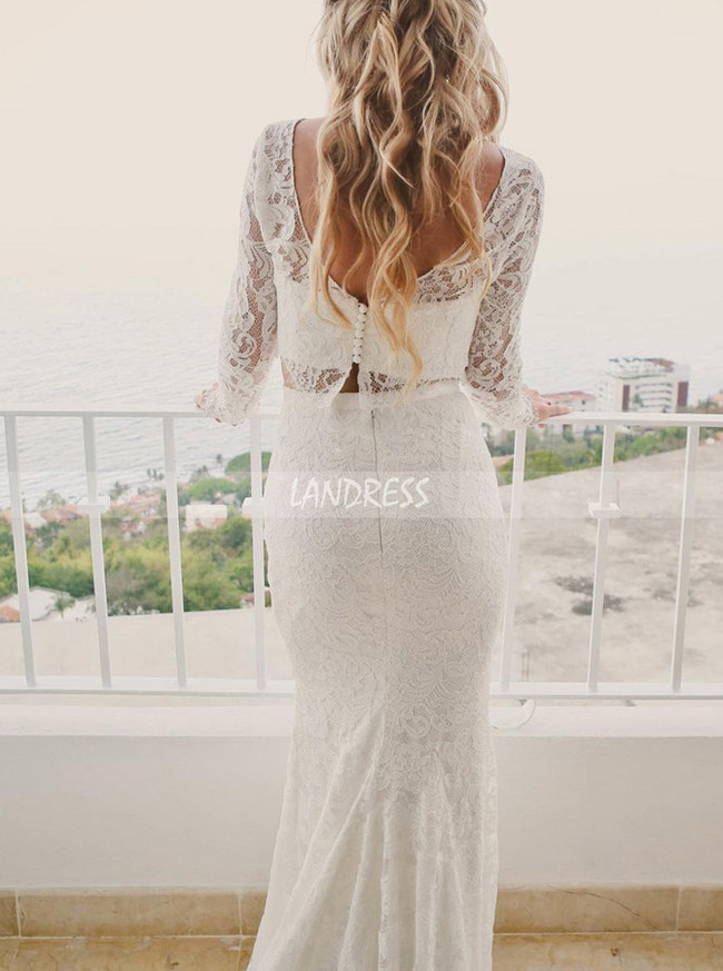 Two Piece Lace Wedding Dresses,Lace Fitted Wedding Dress with Sleeves,12048