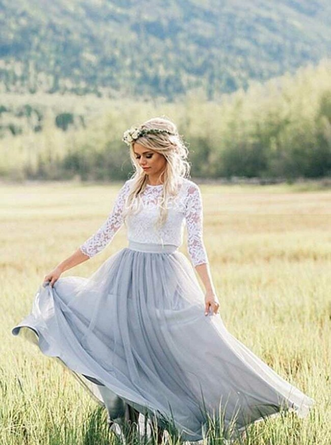 Dusty Blue Outdoor Wedding Dresses,Wedding Dress with Sleeves,12049