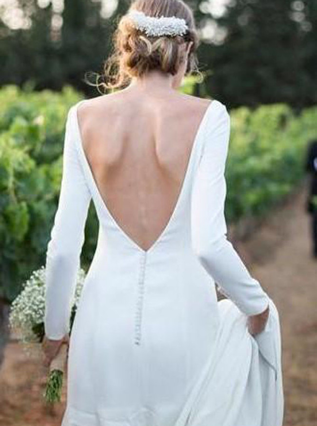 Modest Wedding Dresses with Sleeves,Satin Simple Wedding Dress,12050
