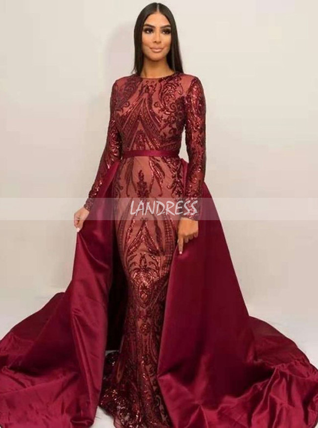 Sheath Evening Dresses with Sleeves,Sequined Prom Dress with Overskirt,12051