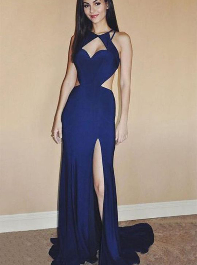 Royal Blue Chiffon Evening Dresses,Open Back Prom Dresses,12052