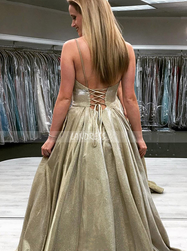 Stunning Prom Dress with Lace Up Back,Spaghetti Straps A-line Evening Dress,12053