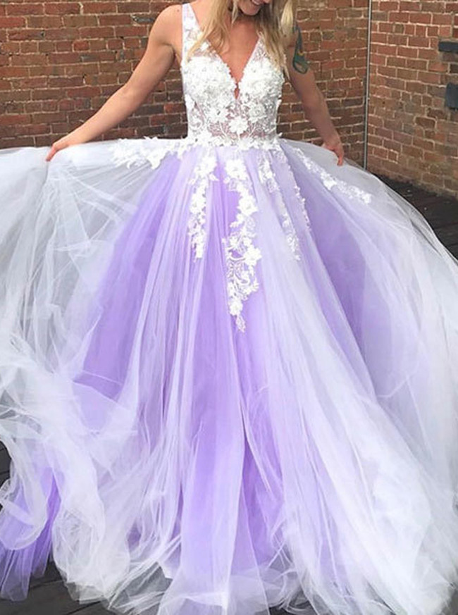 Tulle Prom Dress for Teens,Purple Evening Dress Princess,12055