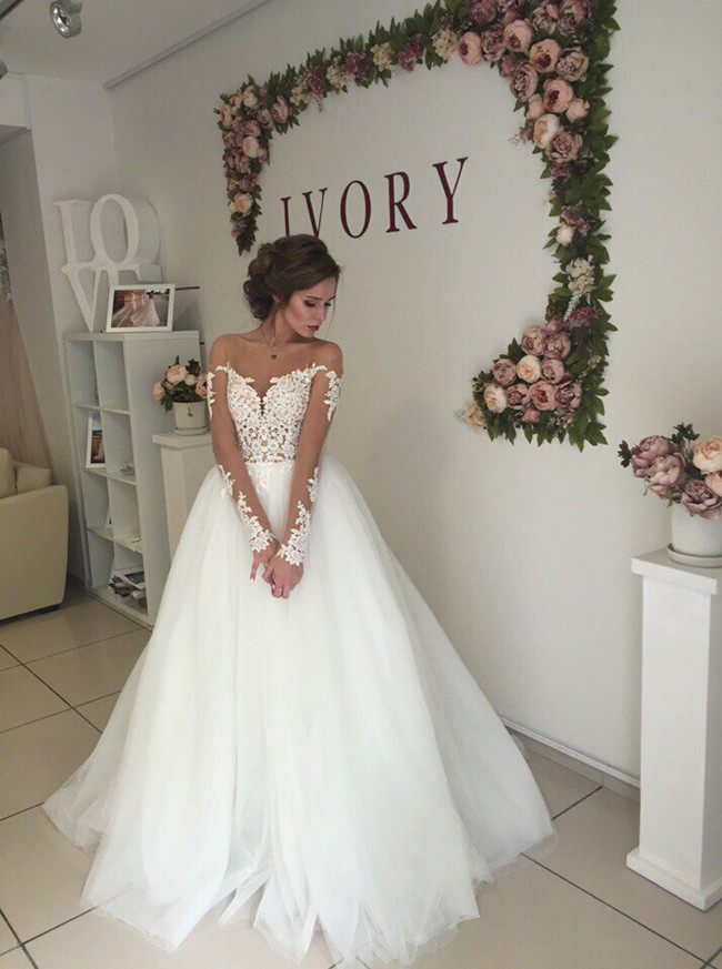 Princess Wedding Dress with Sleeves,Illusion Bridal Gown,12056