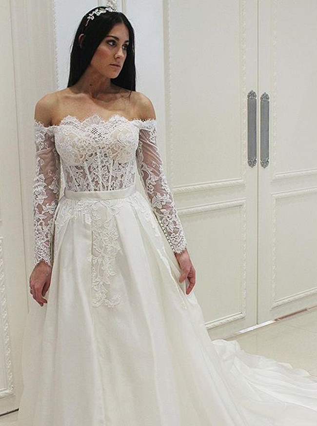 Off the Shoulder Wedding Dress with Long Sleeves,A-line Illusion Wedding Dress,12058